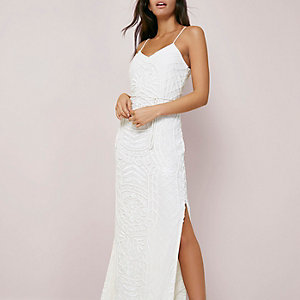 Cream beaded cami maxi dress