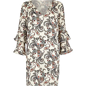 Cream paisley print double frill sleeve dress