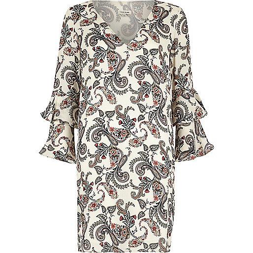 Cream paisley print double frill sleeve dress