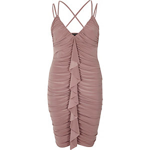 Light pink ruched frill front bodycon dress