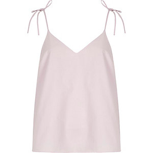 Light purple poplin bow shoulder cami top