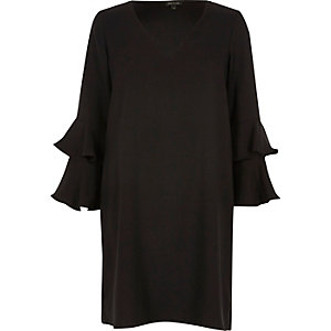Black double frill sleeve swing dress