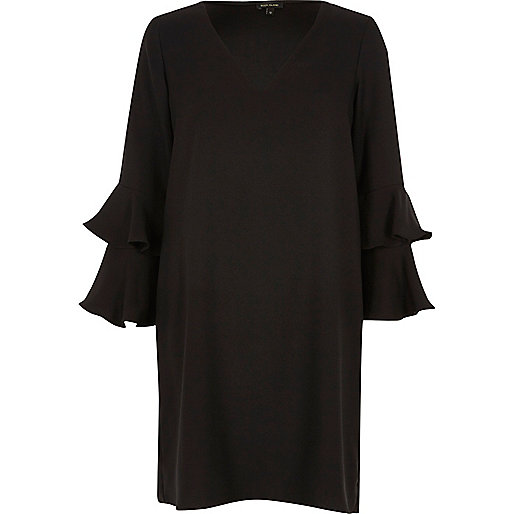 Black double frill sleeve swing dress