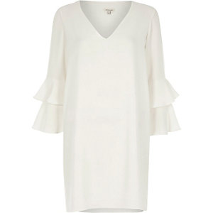 Cream double frill sleeve dress