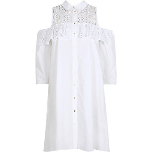 White frill cold shoulder shirt dress