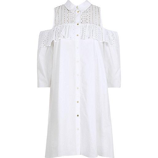 White frill cold shoulder shirt dress