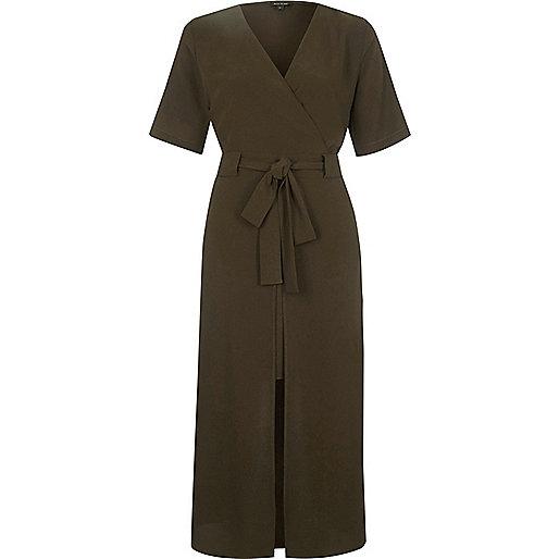 Khaki wrap short sleeve midi dress