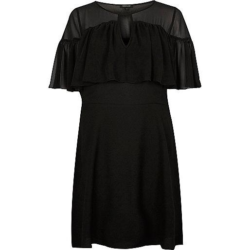 Schwarzes Overlay-Kleid mit Rüschen