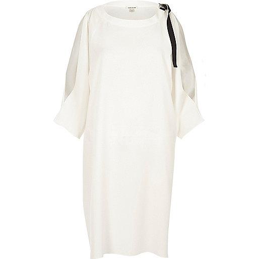 Cream cold shoulder D-ring swing dress