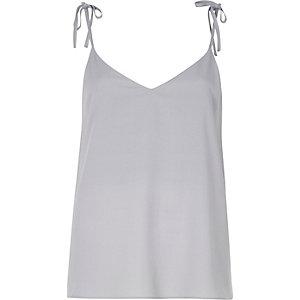 Light blue bow shoulder cami top