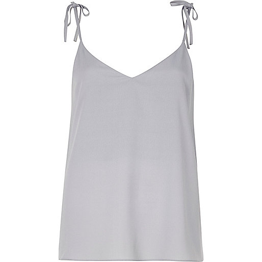 Light blue bow shoulder cami top