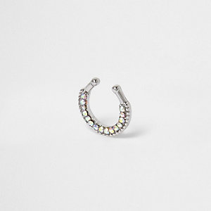 Silver tone diamante septum nose ring