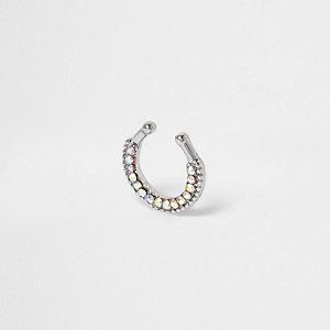 Silver tone rhinestone septum nose ring