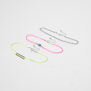 Purple fluro diamante anklet multipack
