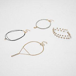 Lot de bracelets de cheville dorés multi-rangs style 90s
