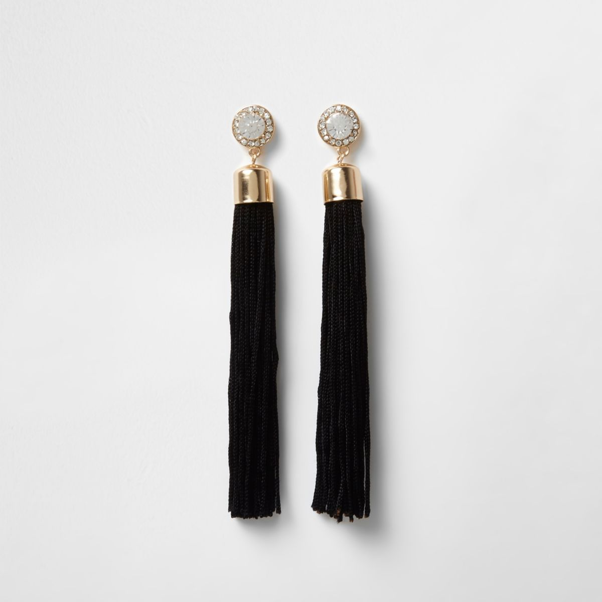 Gold tone diamante black tassel drop earrings