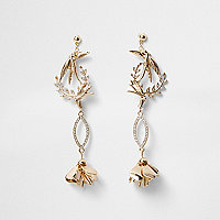 Gold tone bird rhinestone drop earrings