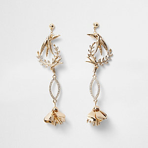 Gold tone bird diamante drop earrings