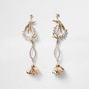Gold tone bird rhinestone drop earrings