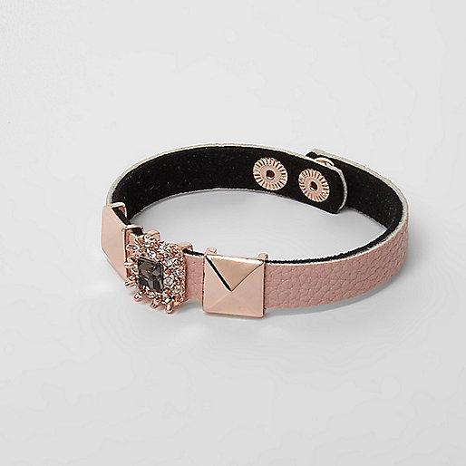 Rose gold tone rhinestone and stud bracelet