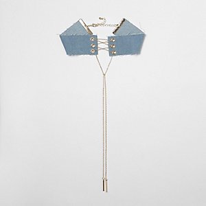 Blue denim corset chain choker
