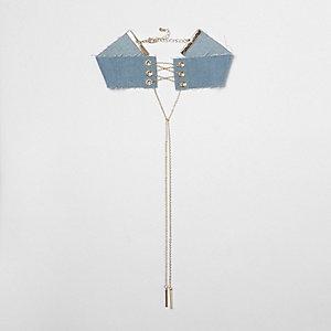 Ras-de-cou style corset en jean bleu à chaîne