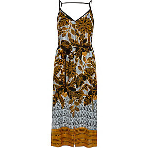 Yellow floral print tie waist midi slip dress