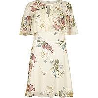 Cream floral print frill sleeve dress