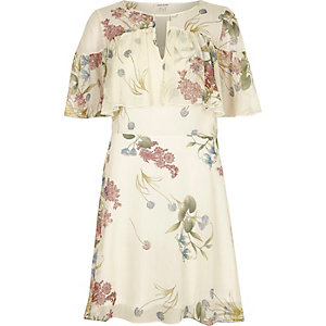 Cream floral print frill sleeve dress
