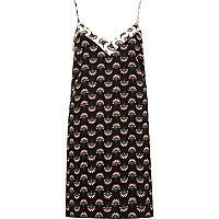 Black floral print cami slip dress