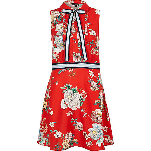Red floral pussybow sleeveless shirt dress