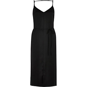 Black tie waist cami strap midi slip dress