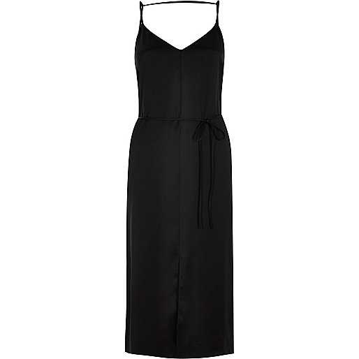 Black tie waist cami strap midi slip dress