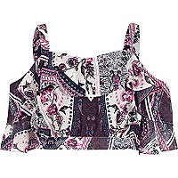 Purple floral scarf print frill crop top