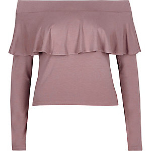 Purple long sleeve frill bardot top