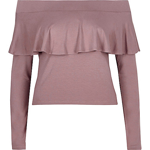 Purple long sleeve frill bardot top