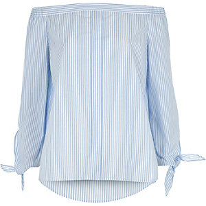 Light blue stripe tie sleeve bardot shirt