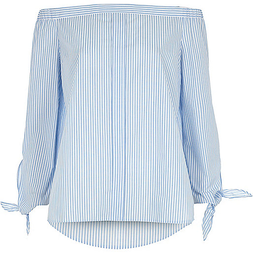 Light blue stripe tie sleeve bardot shirt