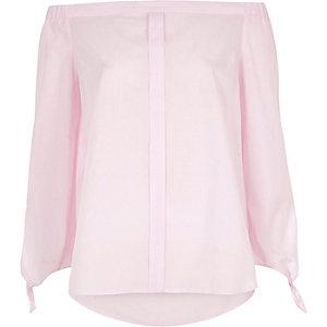 Pink stripe tie sleeve bardot shirt