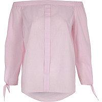Pink gingham tie sleeve bardot shirt