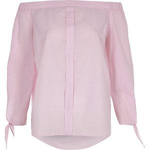 Pinkes Hemd mit Schulterausschnitten und Vichy-Karos