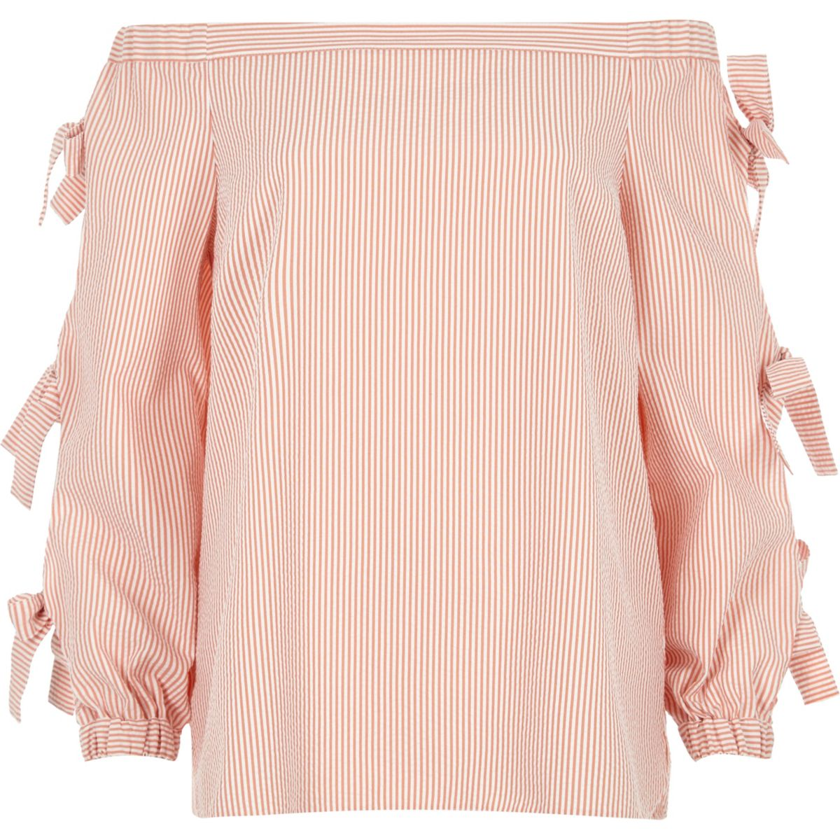 Orange stripe print bow sleeve bardot top