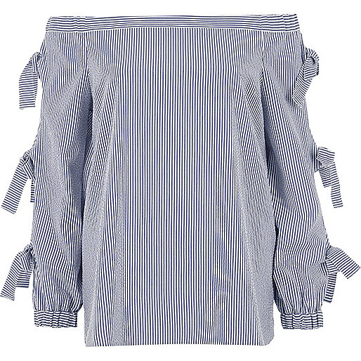 Blue stripe print bow sleeve bardot top