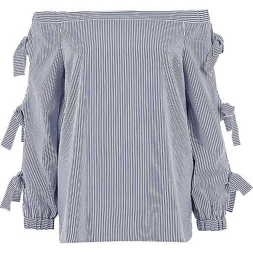 Blue stripe print bow sleeve bardot top