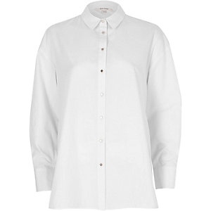 White tie back oversized shirt