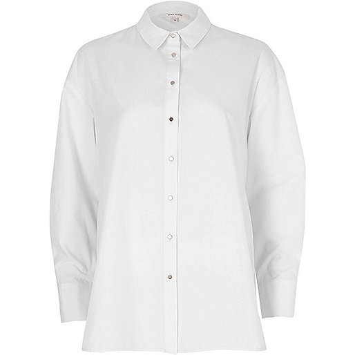 White tie back oversized shirt