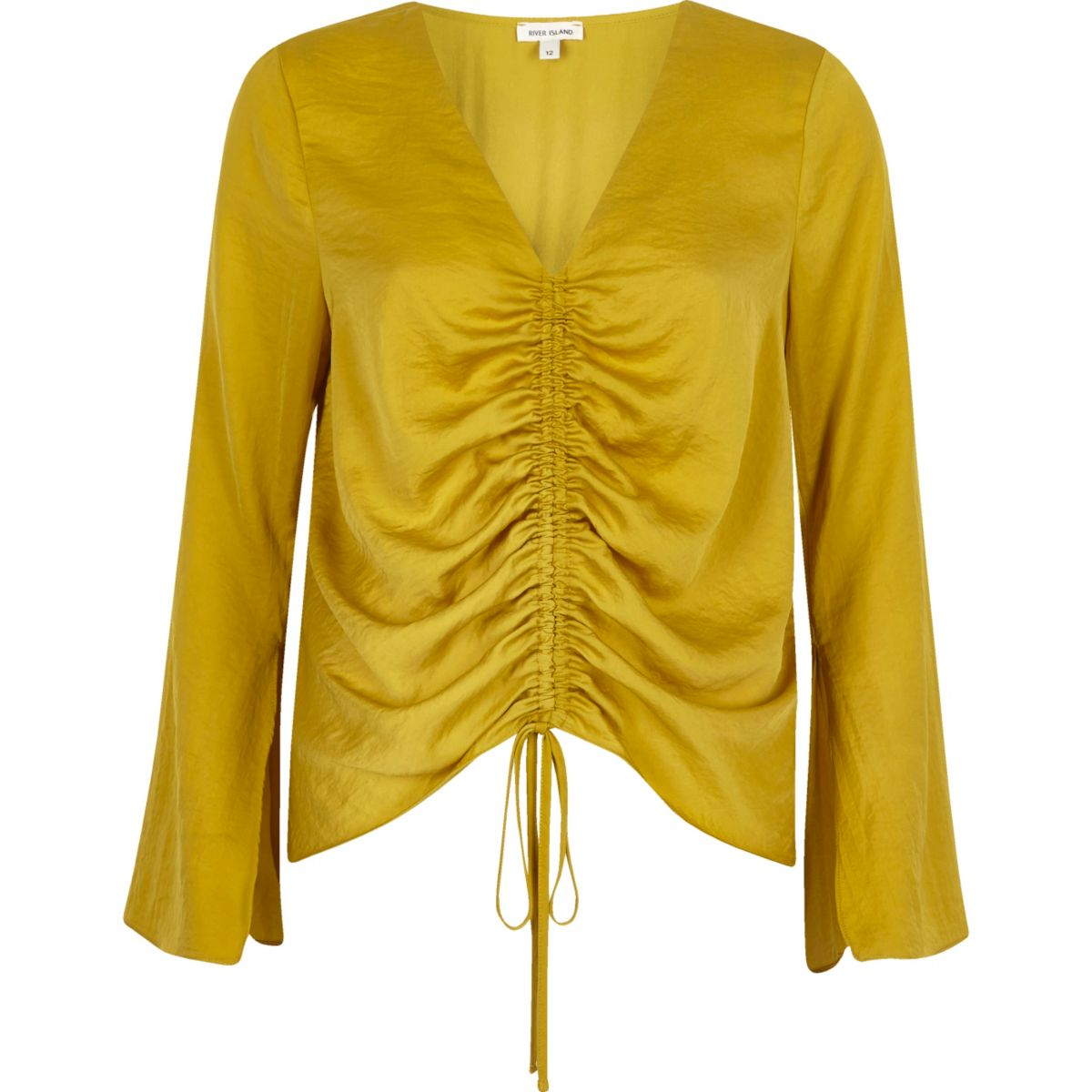 Gold ruched front split sleeve blouse
