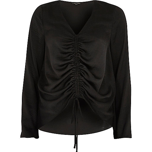Black ruched front long sleeve top