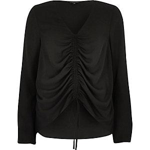Black ruched front split sleeve blouse