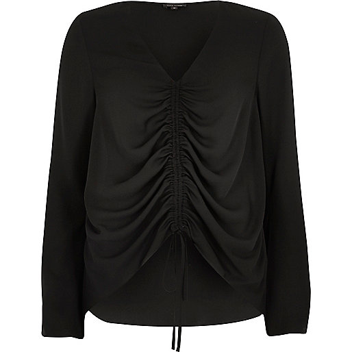 Black ruched front split sleeve blouse